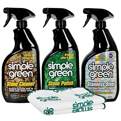 (Simple Green Stone Cleaner, Stone Polish and Stainless Steele Refrigerator Specialty Care Kit, 32 oz Trigger Spray)