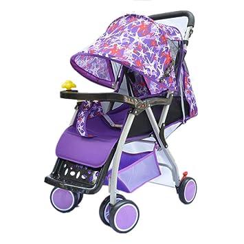 GSDZN - 4 Rueda Cochecito De Bebé para Niños Carrito De Bebé Ultraligero Plegable 2 En