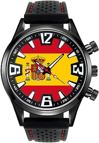 Timest - Bandera de España - Reloj para Hombre con Correa de Silicona Negro Analógico Cuarzo SF205: Timest: Amazon.es: Relojes