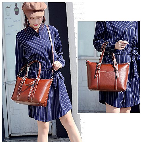 Women's Purses and Handbags Stylish Ladies Designer Satchel Top-handle Tote Shoulder Bags,QUEENTOO(A-Brown) by QUEENTOO (Image #5)
