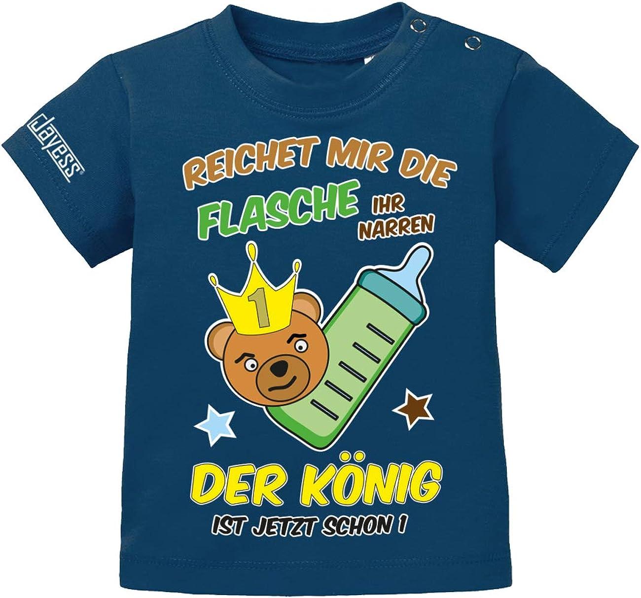 reicht Mir die Flasche Ihr Narren der K/önig ist jetzt Schon 1 Jayess Baby Shirt Jungen zum 1 Geburtstag Teddy