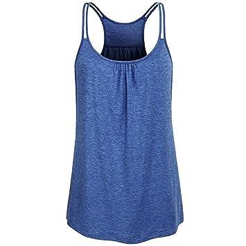 Logobeing Blusas Cuello Redondo Sólido Para Mujer Camiseta Sin Mangas Yoga Camis de Entrenamiento (S