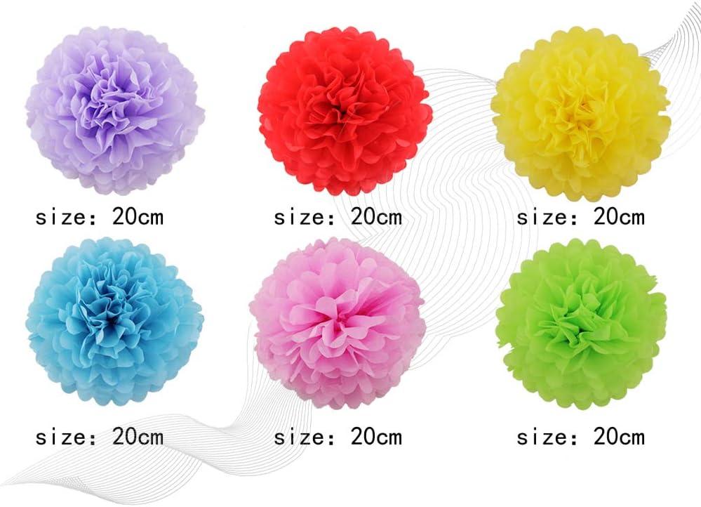 12er Set Pompoms Papier Seidenpapier Pompom Blumenpompons Deko Pom Pom f/ür Party Hochzeit,Geburtstag und Feiern 12 Farben Papier Flowers