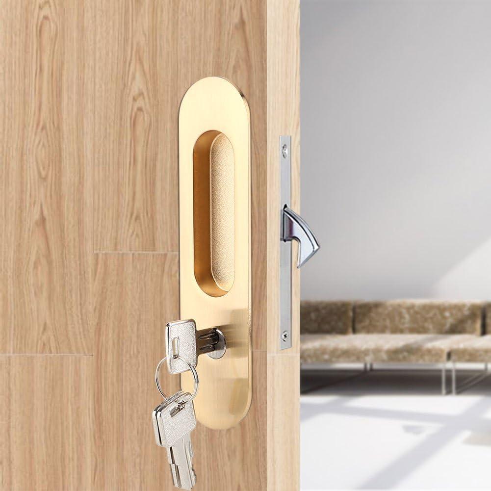 Lcjtaifu Cerraduras de Puertas corredizas de aleación de Zinc Cerradura de Puerta Invisible de Madera con 3 Llaves Pestillo de Hardware de Muebles Interior for baño Armario Cocina Balcón (Oro): Amazon.es: Hogar