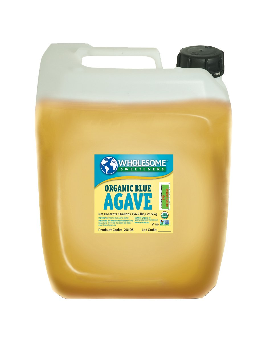 Wholesome Organic Blue Agave Nectar, Syrup, Low Glycemic Sweetener, Non GMO, 5 gallon jug, single unit