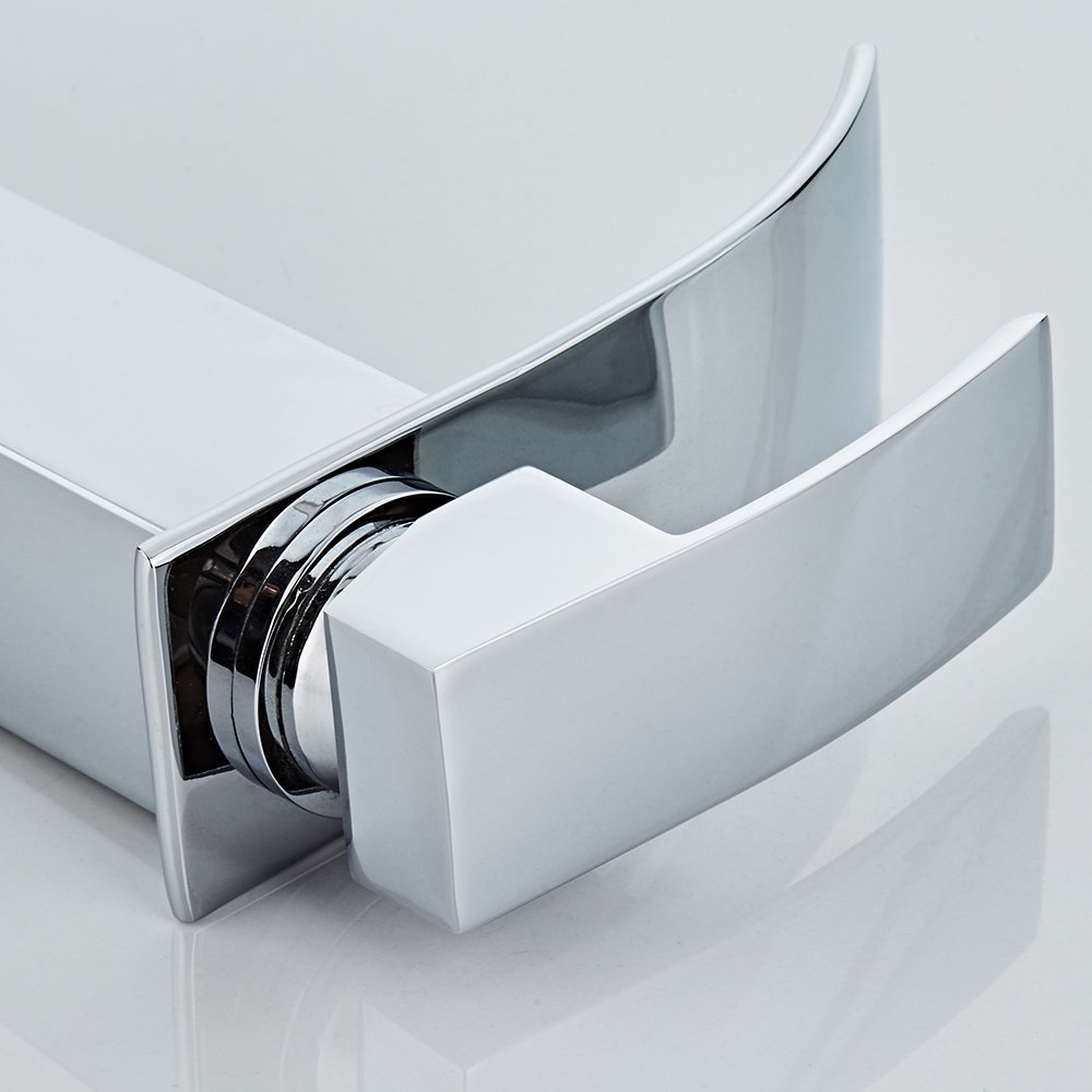 Chrome NF-001 HOROW Single Handle Waterfall Bathroom Vanity Sink Faucet with Extra Large Rectangular Spout