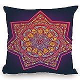 Throw Pillow Cushion Cover,Lotus,Ornamental Vibrant Mandala Universe Kaleidoscope Folk Tribal Meditation Illustration,Multicolor,Decorative Square Accent Pillow Case