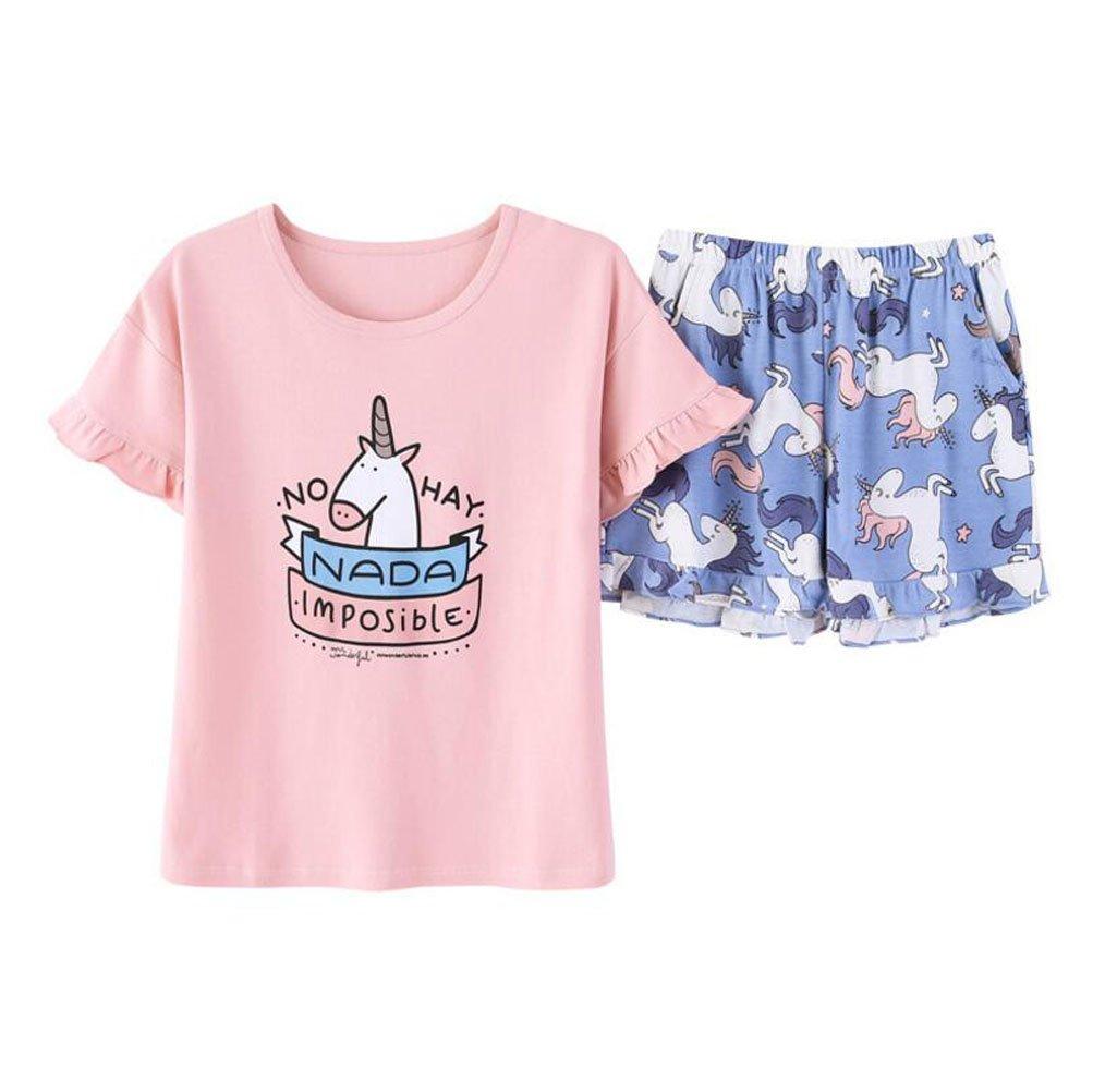 Women's/Big Girls/Teen Girls PJS Cute Unicorn/Fox Cotton Shorts Summer Pajamas Set (Pink, Big Girls 14)