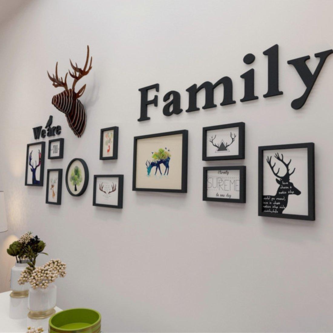 Were Family GWELL Lot de 10 Cardes Photos Multiples D/écoration Mural T/ête de Cerf Blanc