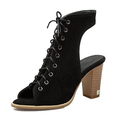 50e65dd20401b SHOWHOW Women's Trendy Peep Toe Faux Suede Lace Up Mule Summer Booties  Black 4 B(