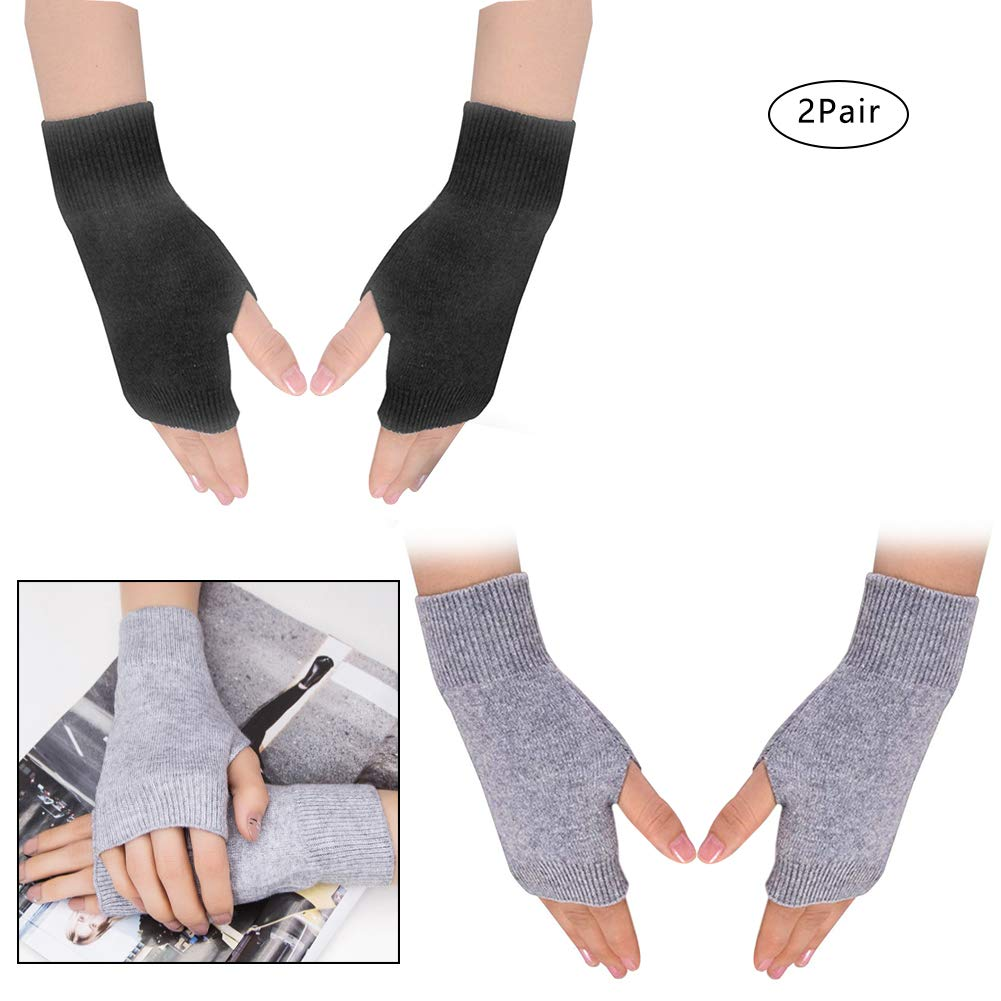 4 Pairs Cashmere Feel Fingerless Gloves with Thumb Hole Warm Gloves for Women and Men Color Set 8 7.5 x 3.5 inches
