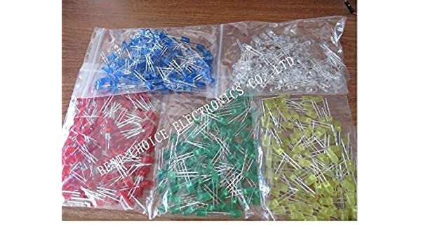 Electronic Components & Supplies 500pcs 5mm Led Diode Light Assorted Kit Diy Leds Set White Yellow Red Green Blue Active Components
