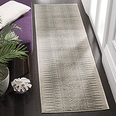 """Safavieh Evoke Collection EVK226Z Modern Bohemian Runner, 2' 2"""" x 7', Ivory/Silver - The high-quality polypropylene and jute fibers add durability and longevity to these rugs The power loomed construction adds durability to this rug, ensuring it will be a favorite for a long time The unmatched style of this rug's pattern will give your room a contemporary accent - runner-rugs, entryway-furniture-decor, entryway-laundry-room - 612LjSPu5eL. SS400  -"""