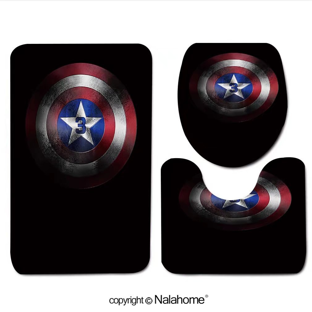 3 Piece Bath Rug Set Nalahome design-Captain America Shield Bathroom Rug(19.29''x31.1'')/large Contour Mat(15.35''x19.29'')/Lid Cover(13.58''x17.51'') For Bathroom(white)