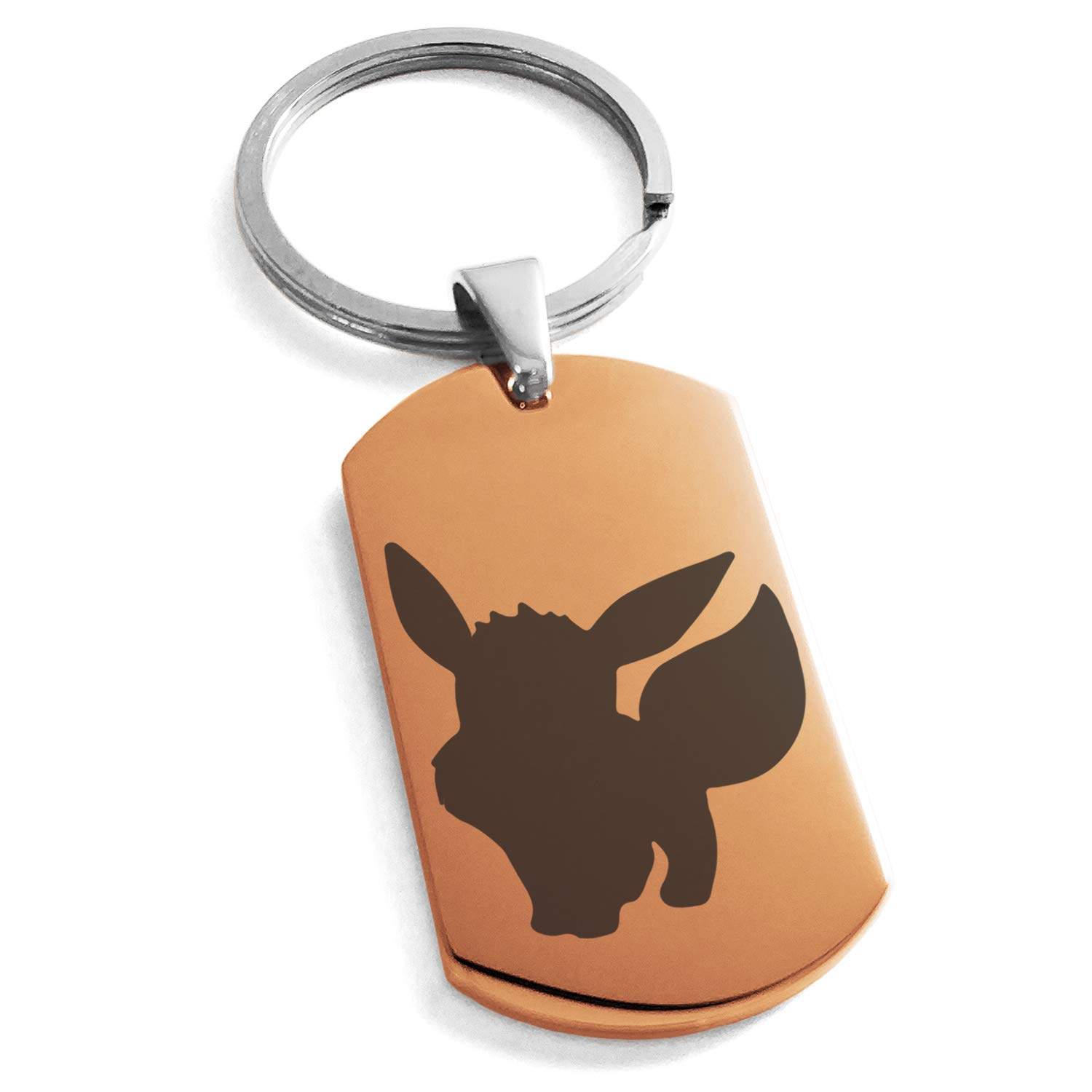 Tioneer Rose Gold Stainless Steel 1st Gen Eevee Pokemon Engraved Dog Tag Keychain Keyring