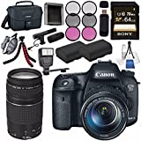 Canon EOS 7D Mark II DSLR Camera with 18-135mm STM Lens 9128B016 + Canon EF 75-300mm Lens + LPE-6 Lithium Ion Battery + Sony 64GB SDXC Card + Flexible Tripod + Universal Slave Flash unit Bundle