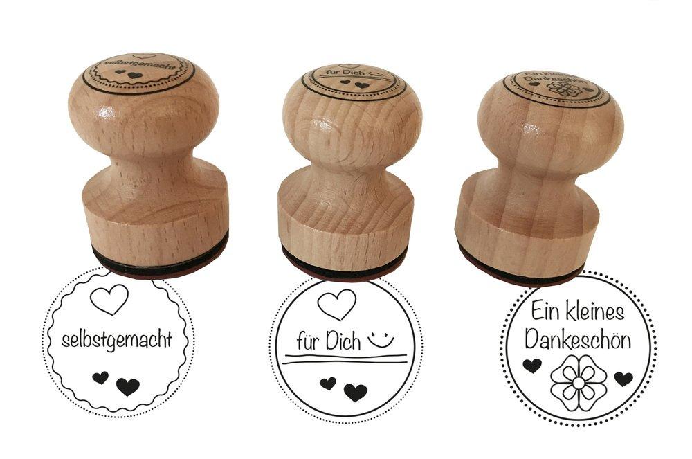 Stempel 3er Set Ein kleines Dankeschön, selbstgemacht, ...für Dich, 3 cm Durchmesser, Holzstempel ...für Dich EAST-WEST Trading GmbH