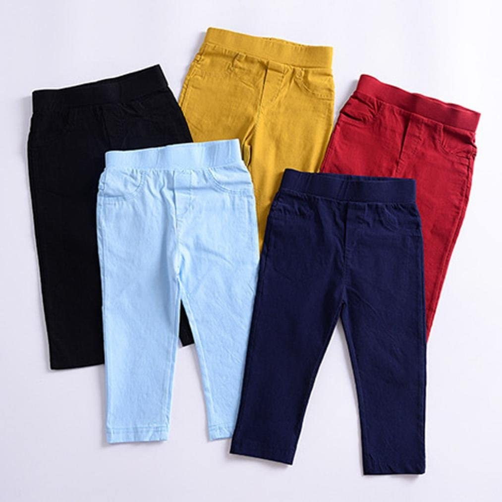 DMZing Toddler Baby Girls Boys Winter Solid Pencil Long Trousers Pants Cotton Leggings with Pockets