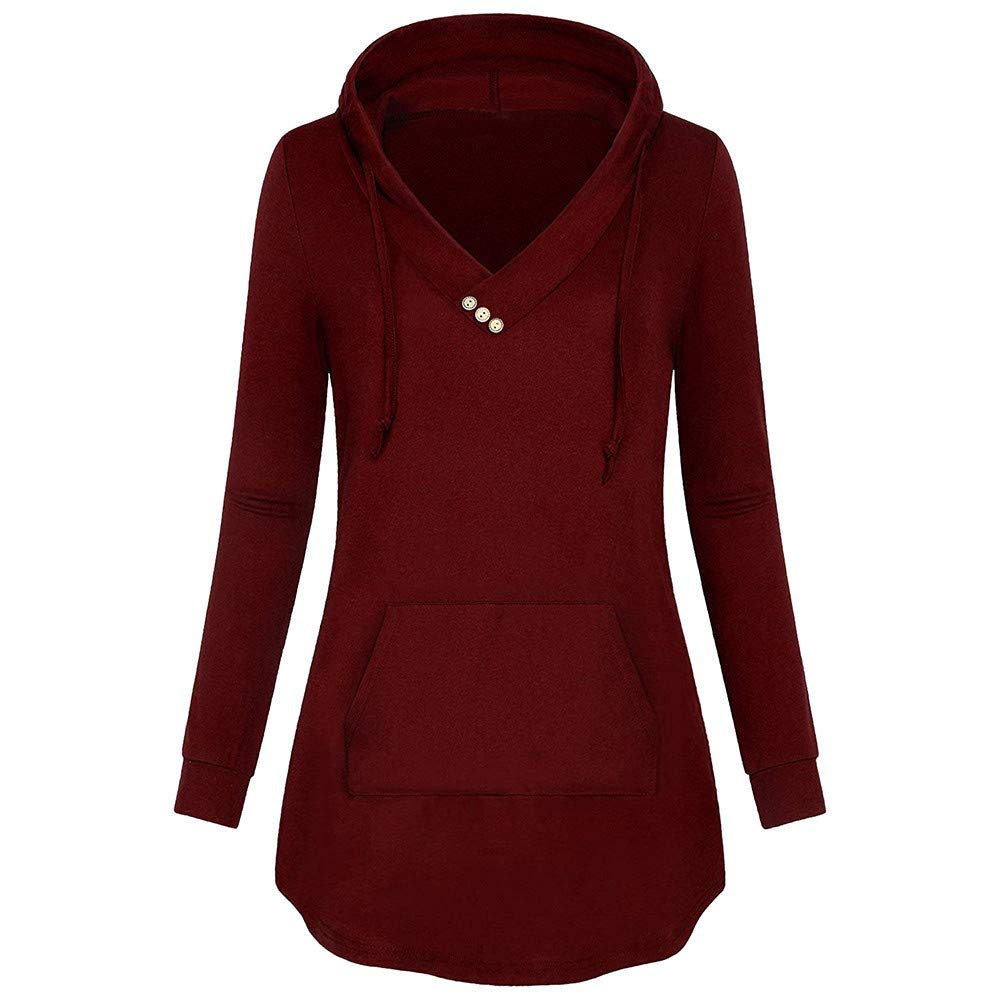 Hosamtel Women Plus Size Long Sleeve Hoodie V- Neck Button Pocket Hooded Sweatshirt Casual Blouse Tops