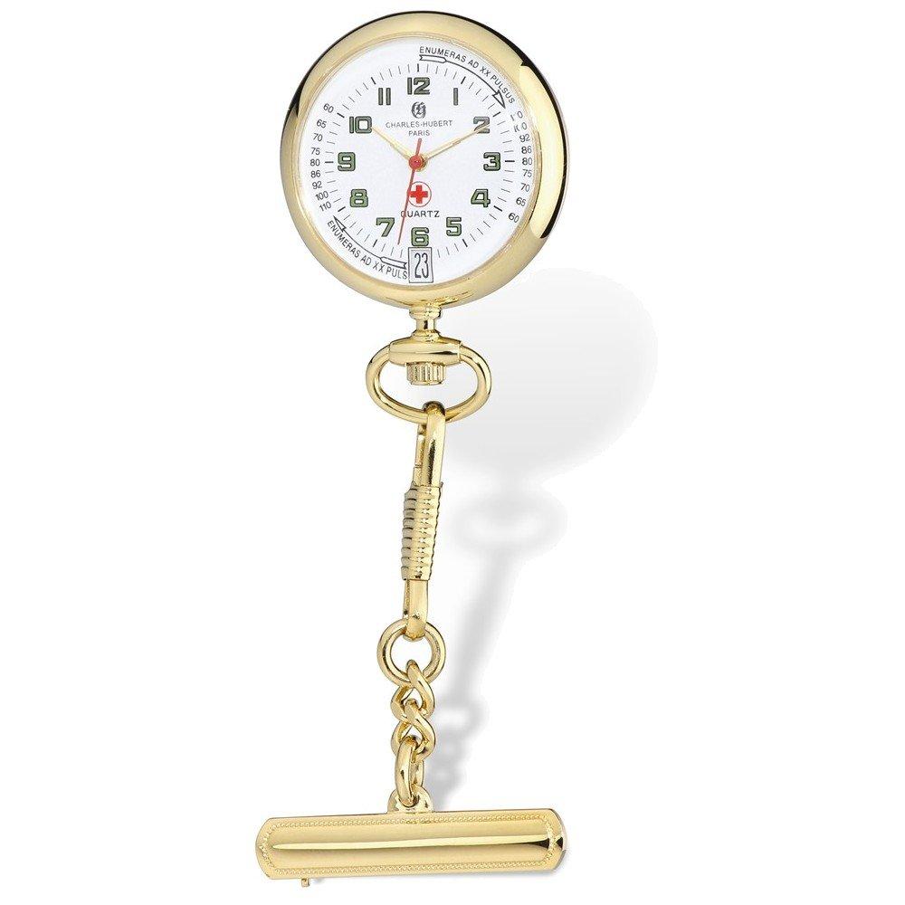 Charles Hubert Gold-finish White Dial Nurse Watch w/Pin