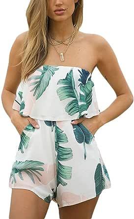 Women Elegant Jumpsuits Tie Dye Palm Leaf Print Ruffle Flounce Bandeau Rompers Shorts
