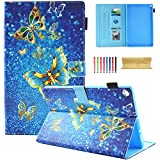 Coopts Case for All-New Amazon Fire HD 10 Tablet (7th Generation, 2017 Release) - [Multi-Angle Viewing] Folio Stand Cover with Pocket Auto Wake/Sleep for Fire HD 10.1 Inch Tablet, Blue Butterfly