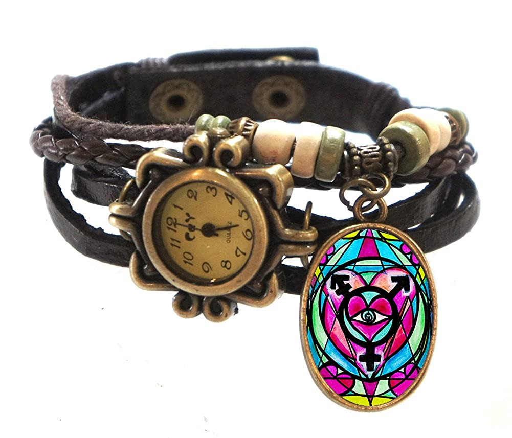 Transgender Brown Boho Leather Charm Bracelet Watch 7 to 8 1 4
