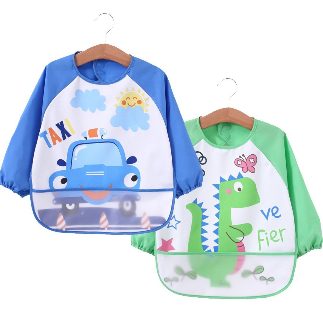 [2 pack] Baby bibs with pocket,Waterproof sleeved bib,100% polyester fiber Bibs for Teething Feeding Baby_CLRST5q