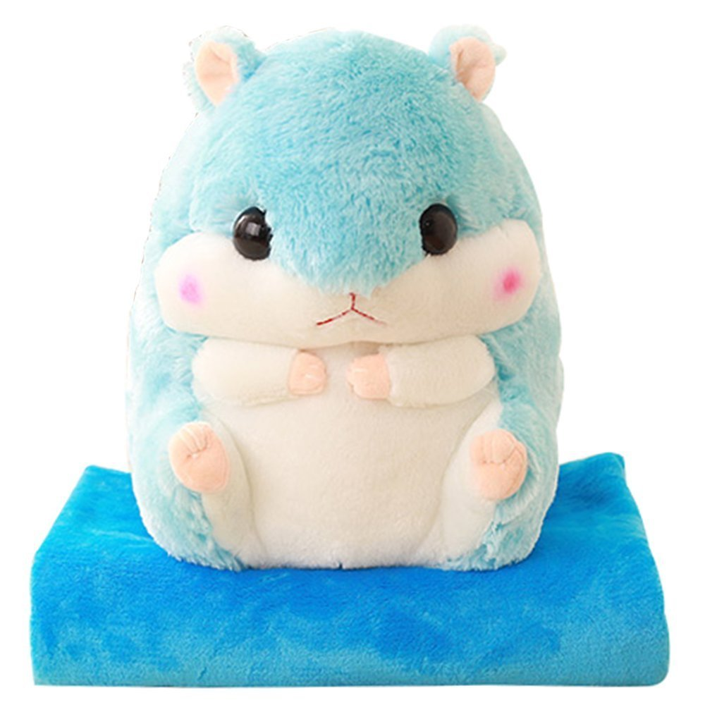 Amazon.com: Hamsters Pillow Blankets Plush Stuffed Animal Toys Doll Cute Back Cushion Gifts (Blue): Home & Kitchen