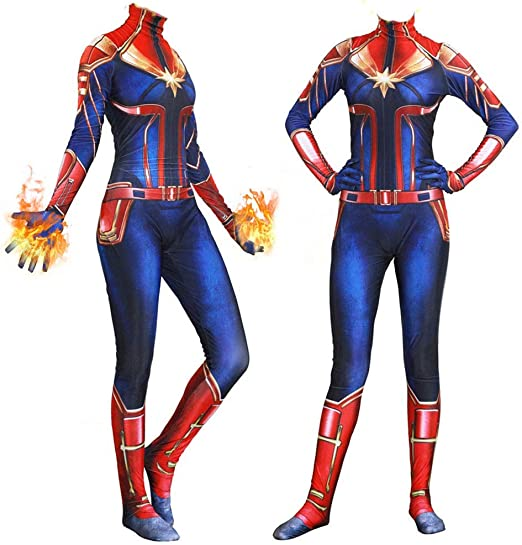 Captain Marvel Lycra Jumpsuit Carol Danver Cosplay Costume One-piece Bodysuit