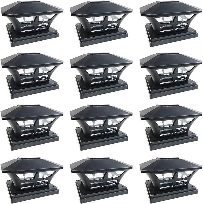 iGlow 12 Pack White Outdoor Garden 6 x 6 Solar SMD LED Post Deck Cap Square Fence Light Landscape PVC Vinyl Wood Bronze