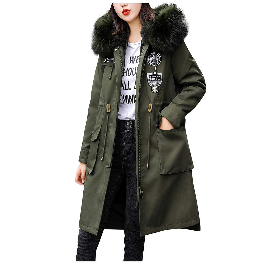 Allywit- Women Outerwear Faux Fur Hooded Button Coat Long Solid Warm Jackets Windbreaker Coats with Big Pocket Army Green by Allywit- Women