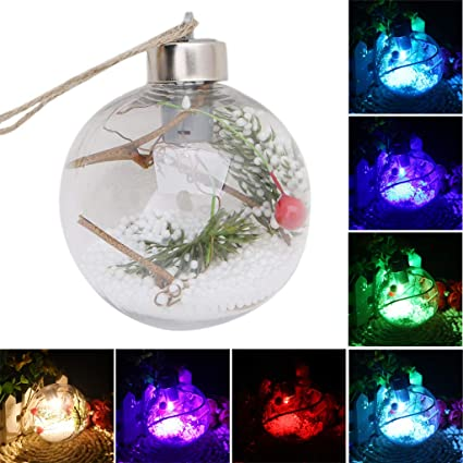 Christmas Tree LED Clear Ball Light Lamp Party Hanging Ornaments Outdoor Decor