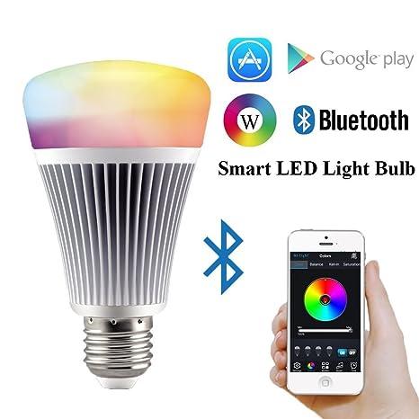 Bluetooth RGB Bombilla LED de 8 W de aluminio LED bombilla E27 temporizador más de 16