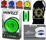 Henrys LIZARD Pro Yo-Yos, Beginners YoYo's With Yo Yo String, Book Of Tricks & Travel Bag! (Green)
