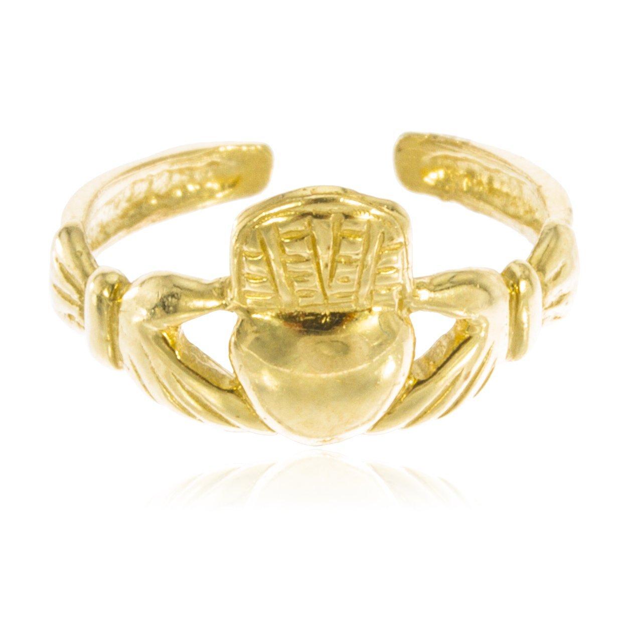 JOTW 10k Yellow Gold Irish Claddagh Toe Ring GO-488