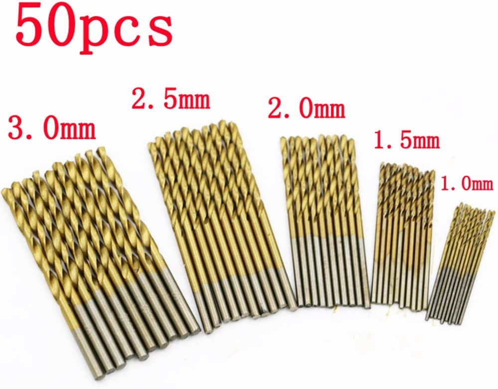 1.0mm-3mm 50pcs HSS Metric Twist Drill Bit Titanium Coated For Wood Plastic Metal Tool Set