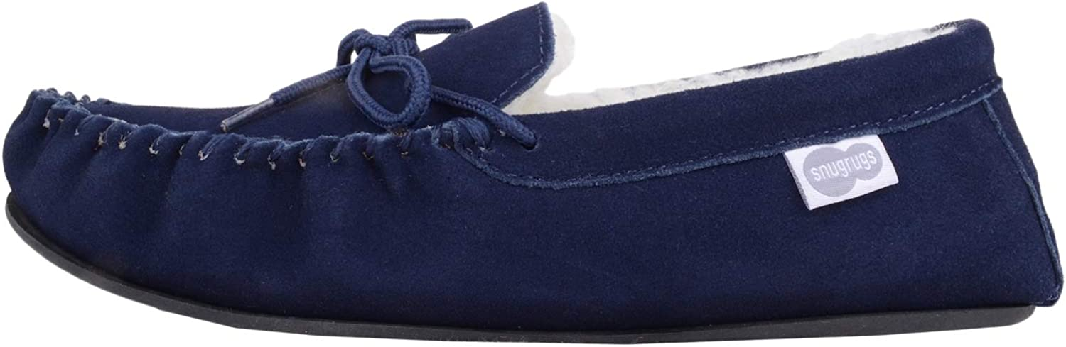 SNUGRUGS Wool Lined Suede Moccasin with Rubber Sole Chaussons Homme