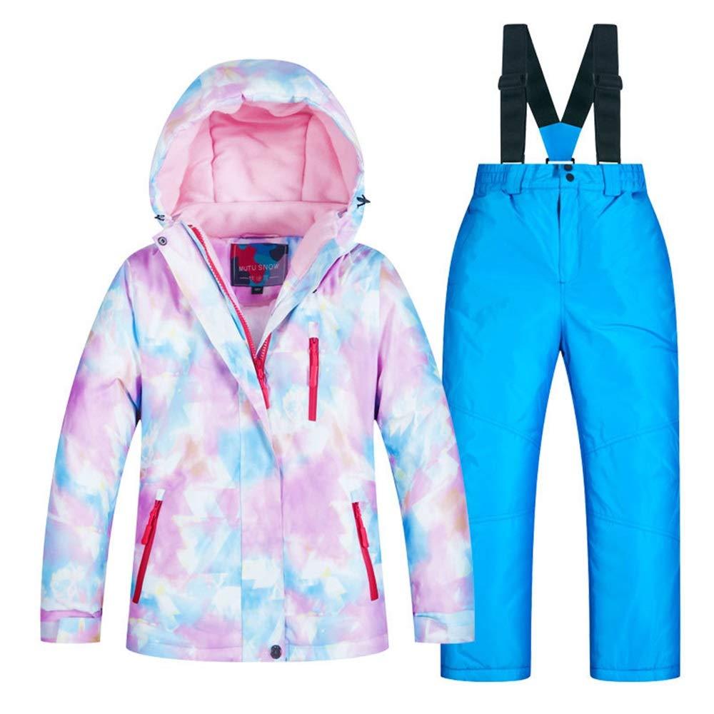 スキーウェア 屋外子供用スキーウェアガールズスーツ冬の厚い暖かい防風防水 耐性ジャケット (色 : C3+青 pant, サイズ : 6 yards)