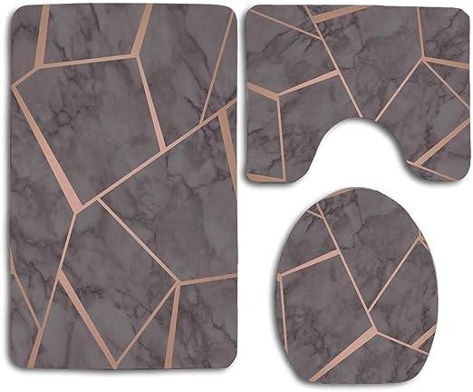 3Pcs//Set Marbled Anti-Slip Bathroom Carpet Pedestal Rug Toilet Cover Bathmats