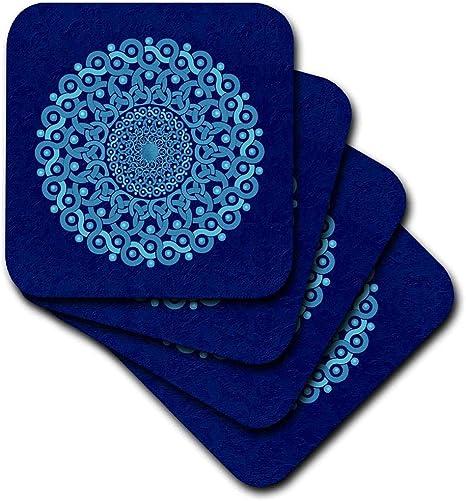 3drose Cst 32175 3 Turquoise And Cobalt Blue Fantasy Mandala On Royal Blue Muted Grunge Damask Ceramic Tile Coasters Set Of 4 Home Kitchen