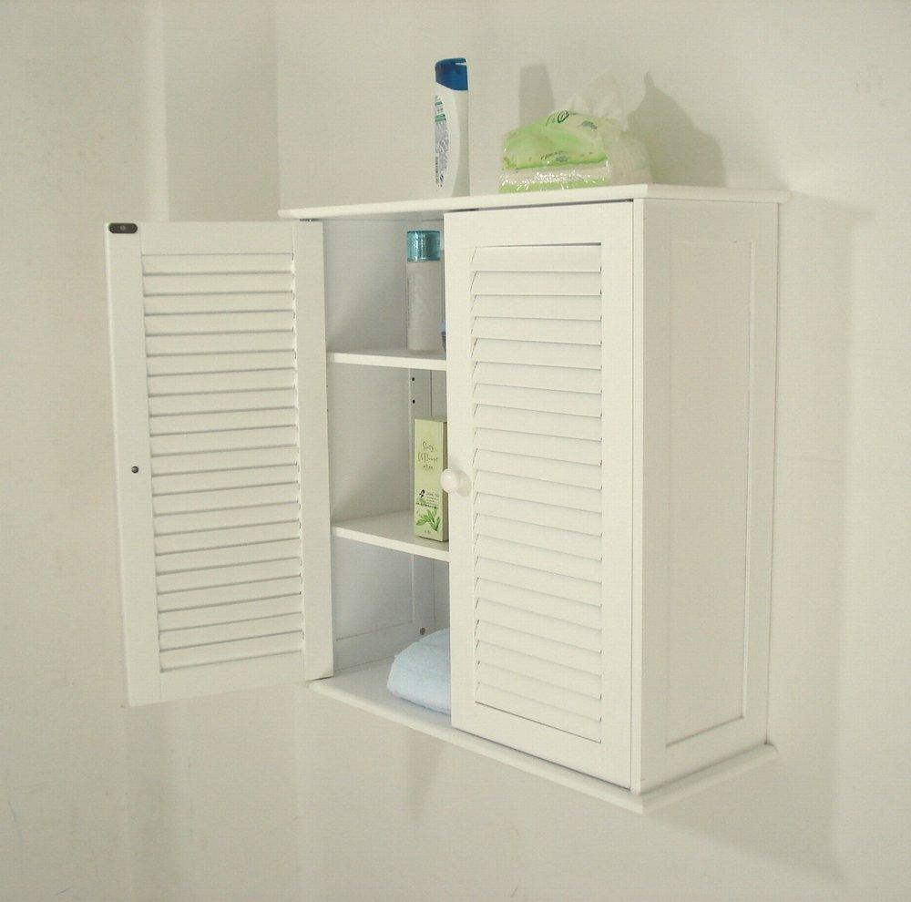 amazoncom wall storage cabinet2 louvered kitchen u0026 dining
