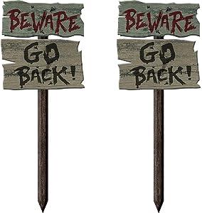"Stephanie Imports Set of 2 Themed Halloween Beware: Go Back! 22"" Yard Garden Stakes"