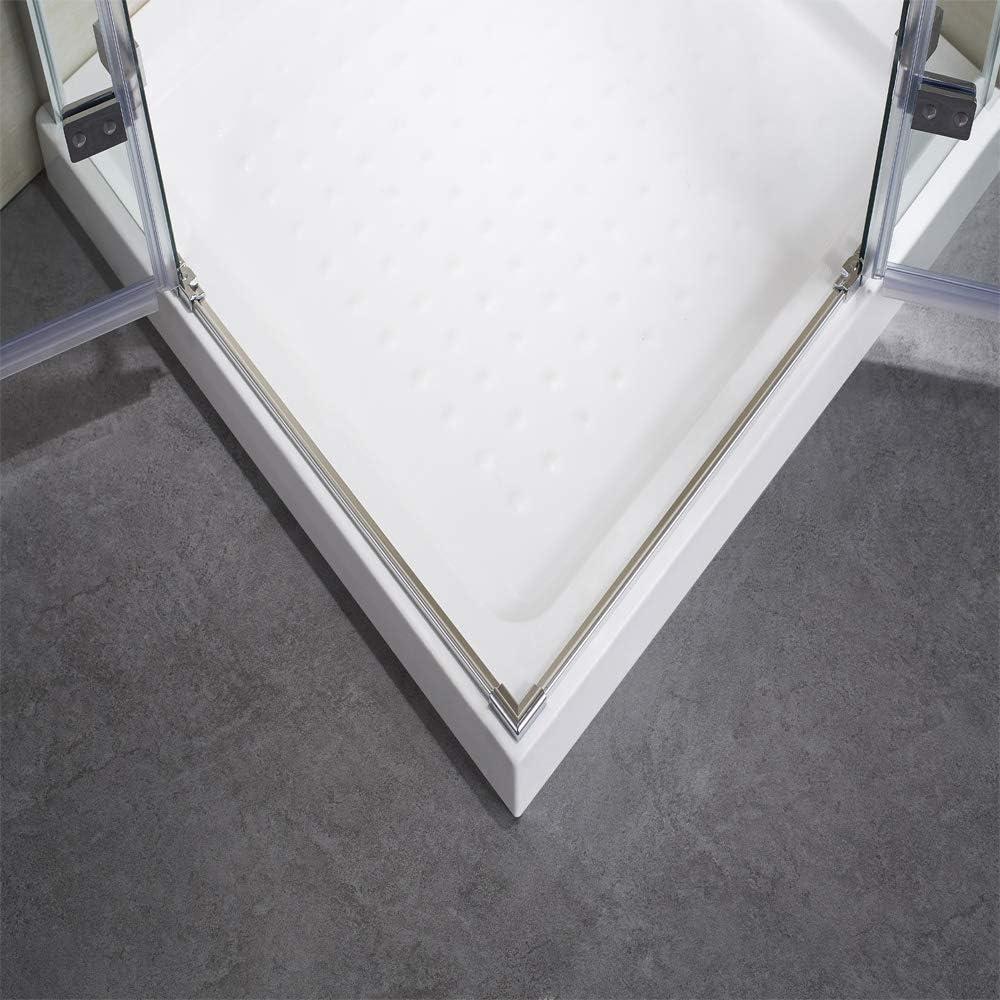 Mampara de ducha con bisagras de 6 mm de cristal NANO-GLAS: Amazon ...