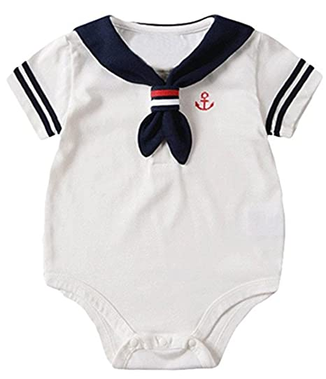 eac0b93ba Amazon.com: Baby Boys Girls Nautical Sailor Short Sleeve One-Piece Romper  Navy Anchors Onesies Outfits: Clothing