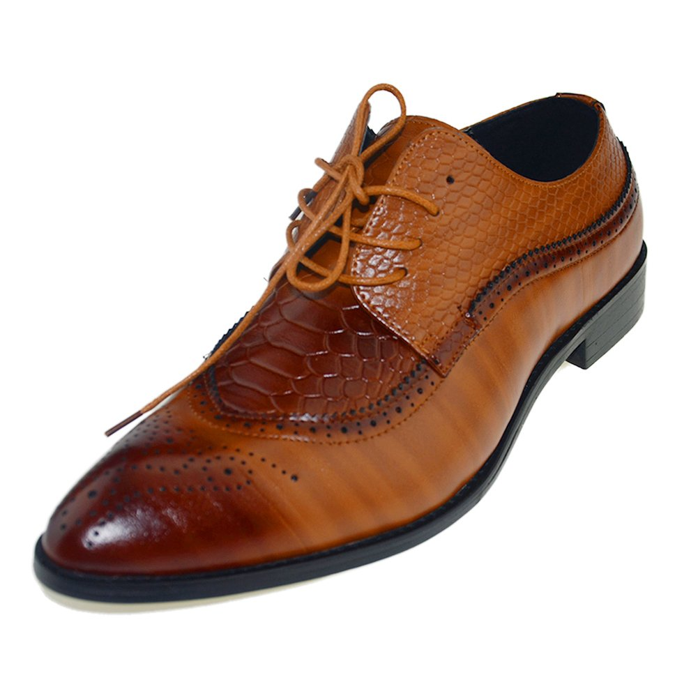 HYJ Men's PU Leather Classic Brogue Dress Oxfords Shoes Brown Size 10