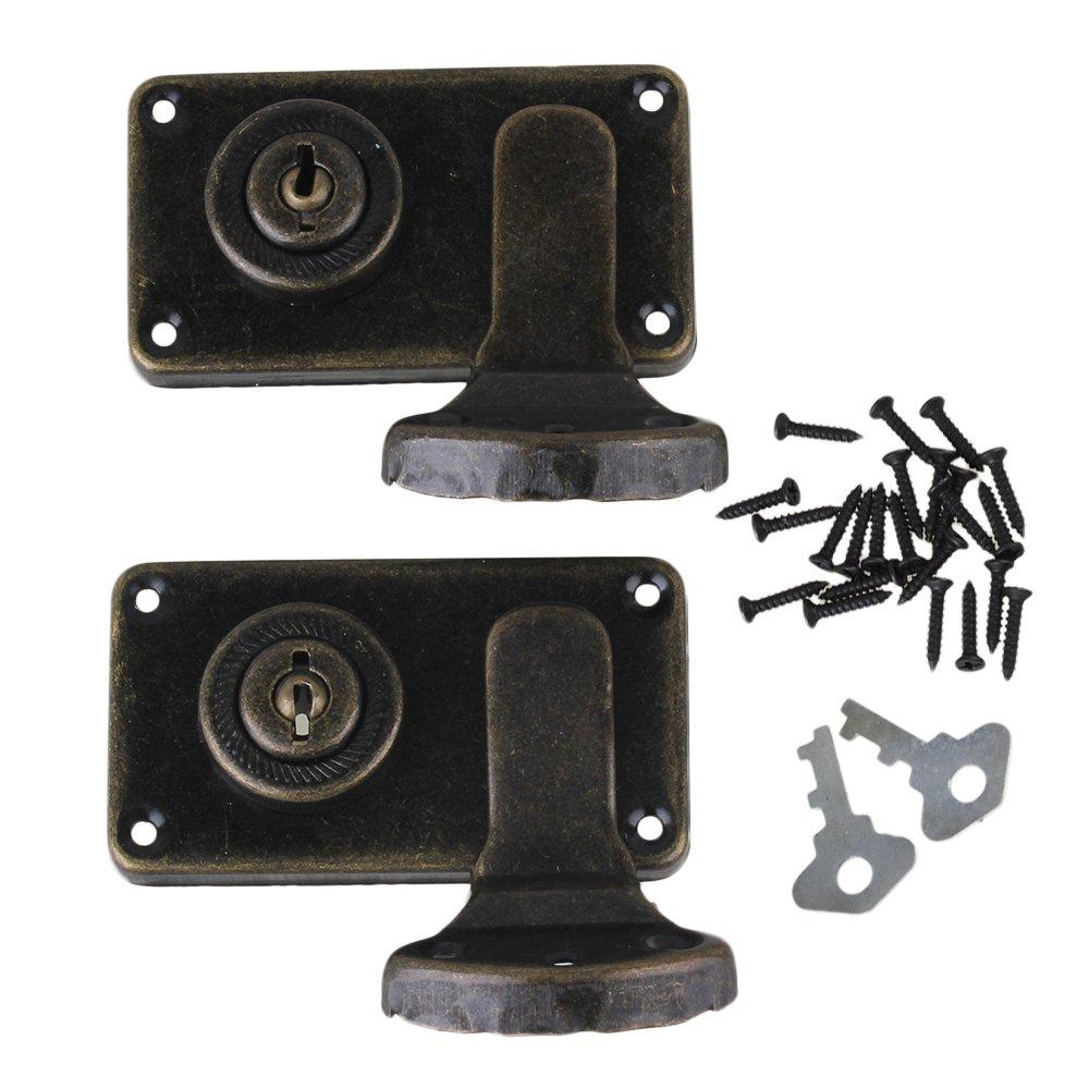 BQLZR bronce Vintage Lock cierre latch Catch DIY cajas de joyerí a maleta Gabinete con Llaves tornillos paquete de 2 BQLZRN23050