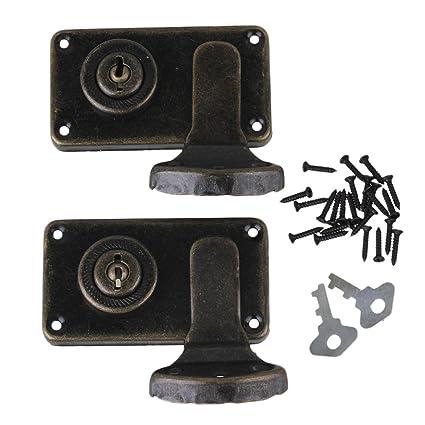 BQLZR bronce Vintage Lock cierre latch Catch DIY cajas de joyería maleta Gabinete con Llaves tornillos
