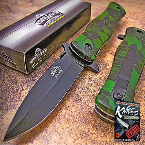Master Green Skull Camo Drop Point Spring Assisted Opening Tactical Pocket Elite Knife + free eBook by ProTactical'US