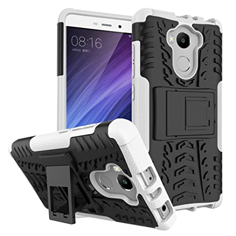 WindCase Redmi 4 Funda, Heavy Duty Rugged Dual Layer Shock Resistant Armor Defensor Case con Kickstand Carcasa para Xiaomi Redmi 4 Blanco
